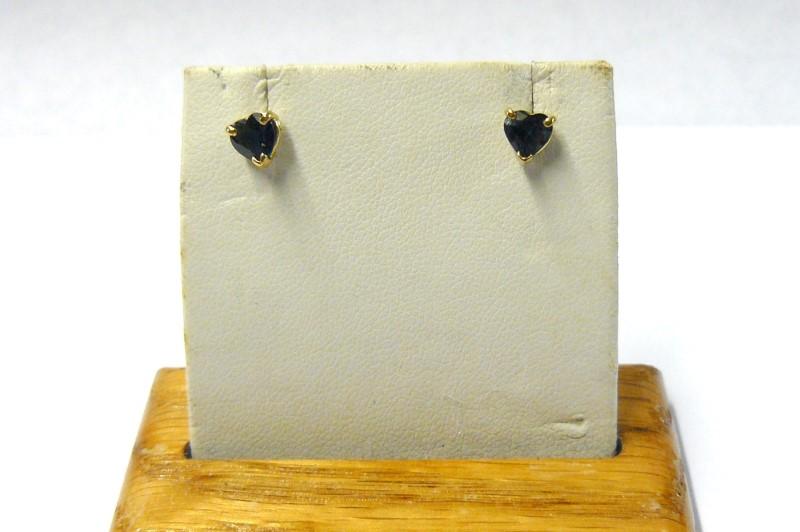 Sapphire Gold-Stone Earrings 14K Yellow Gold 0.6dwt