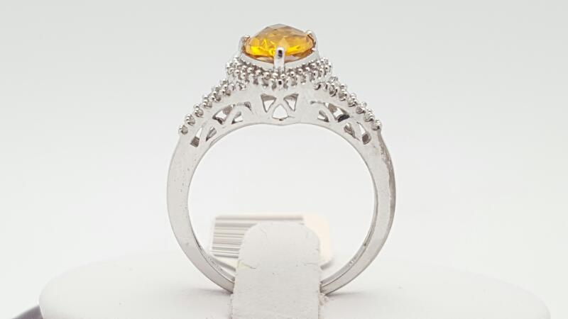 Citrine Lady's Stone & Diamond Ring 24 Diamonds .24 Carat T.W. 10K White Gold