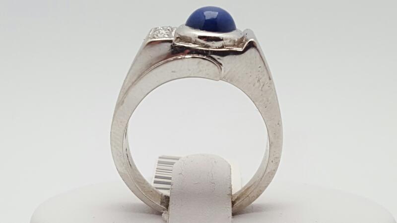 Synthetic Star Sapphire Gent's Stone & Diamond Ring 3 Diamonds .12 Carat T.W.
