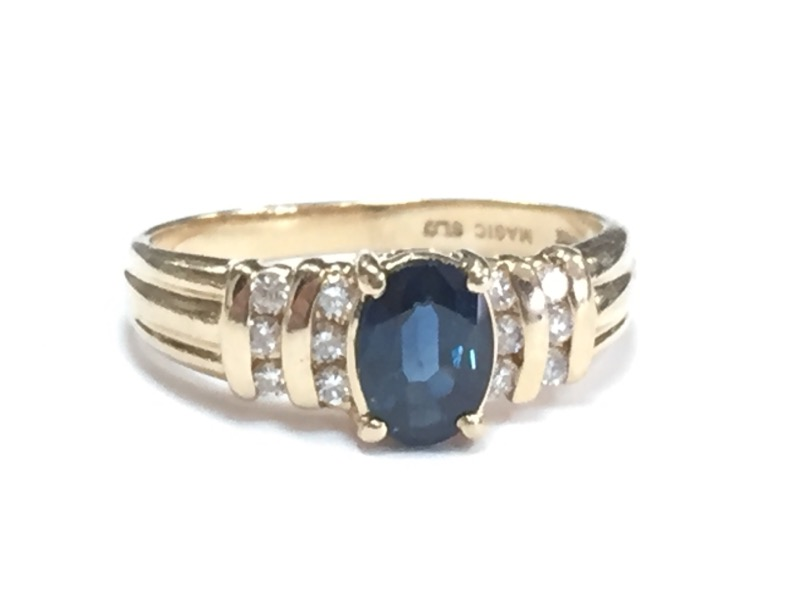 *GORGEOUS SAPPHIRE & DIAMOND 14K YELLOW GOLD RING* SIZE 6.5* ASK US ABOUT SIZING