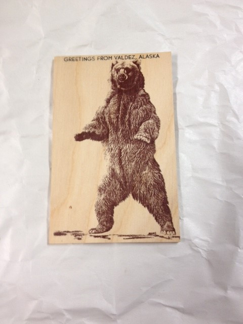 WOOD POSTCARD-GRIZZLY-GREETINGS FROM VALDEZ