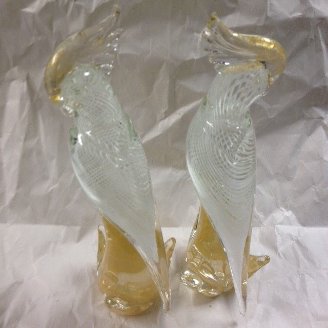 MURANO GLASS COCKATOO - PAIR