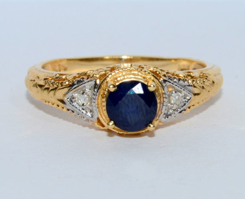 Sapphire Lady's Stone & Diamond Ring 2 Diamonds .02 Carat T.W. 14K Yellow Gold