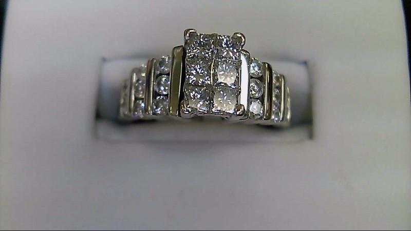 Lady's Diamond Engagement Ring 22 Diamonds 1.22 Carat T.W. 14K White Gold 6g