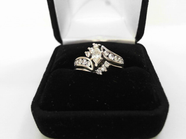 Lady's Diamond Engagement Ring 17 Diamonds .89 Carat T.W. 14K White Gold 4.1dwt