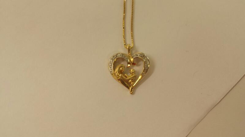 LDS 10KT Gold-Multi-Diamond Pendant W/GOLD HEART PENDANT