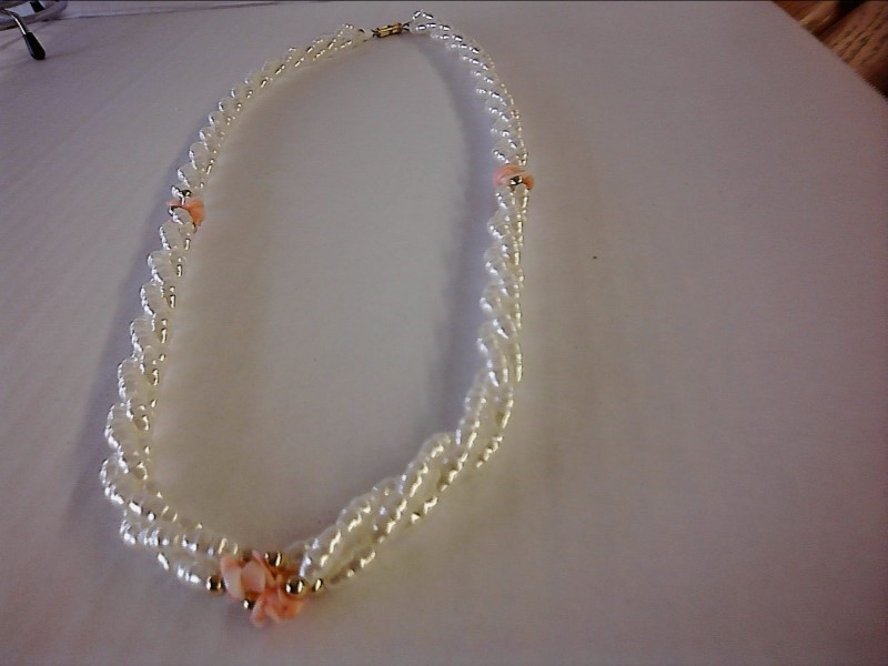 NECKLACE JEWELRY JEWELRY; TWISTED FRESHWATER PEARLS WITH PINK CORAL PIECES