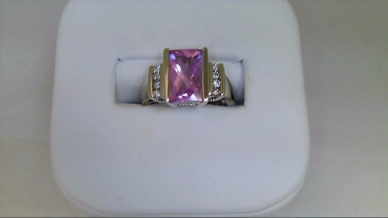 Synthetic Pink Sapphire Lady's Stone & Diamond Ring 8 Diamonds .08 Carat T.W.