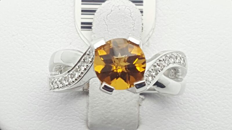Citrine Lady's Stone & Diamond Ring 12 Diamonds .12 Carat T.W. 14K White Gold