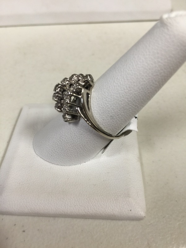 Lady's Diamond Cluster Ring 19 Diamonds .57 Carat T.W. 10K White Gold 4.3g