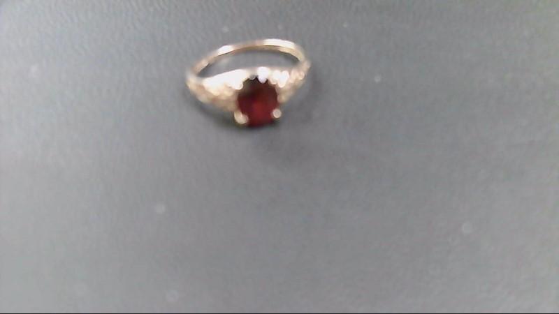 Almandite Garnet Lady's Stone Ring 10K Yellow Gold 1.3g