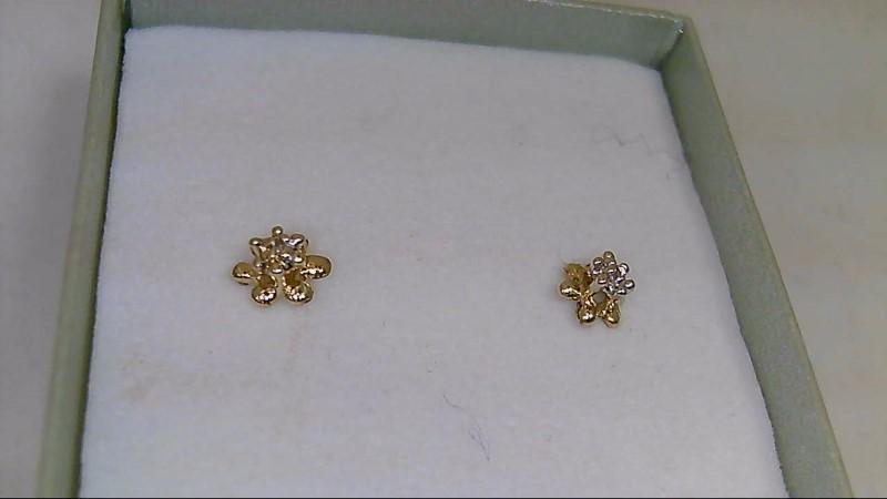 Gold-Diamond Earrings 2 Diamonds .02 Carat T.W. 10K Yellow Gold 0.67g