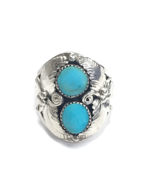 Turquoise Lady's Silver & Stone Ring 925 Silver 11.39g Size:11.5