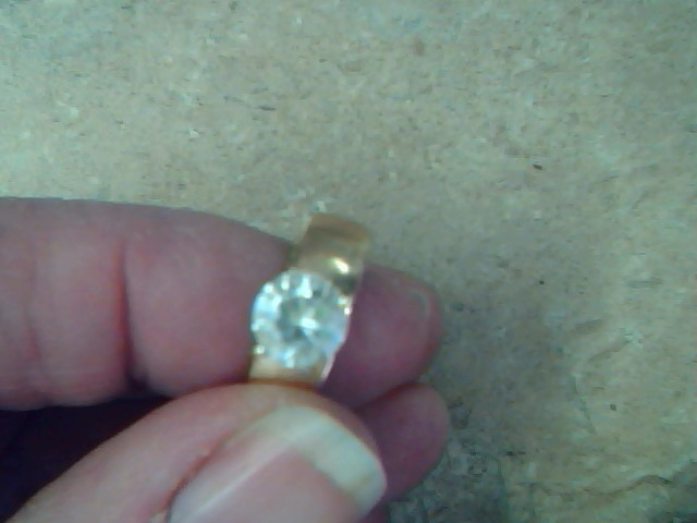 White Stone Lady's Stone Ring 10K Yellow Gold 2.7g Size:6.8