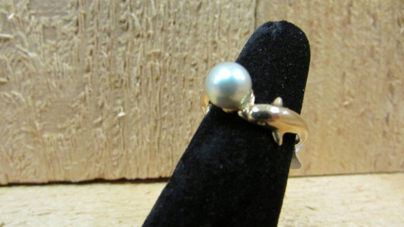 Synthetic Pearl Lady's Stone Ring 14K Yellow Gold 3g Size:6