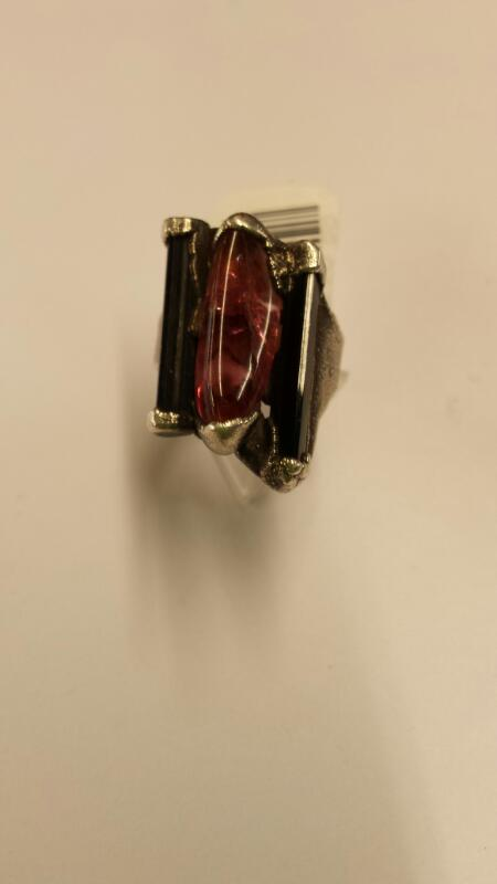 Wax Cast Solid Silver Ring with Black & Pink/Purple Natural Tourmaline, Size 4.5
