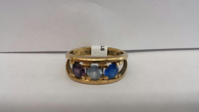 10k Yellow Gold Stone with 1 Blue Stone, 1 Teal Stone, and 1 Purple Stone