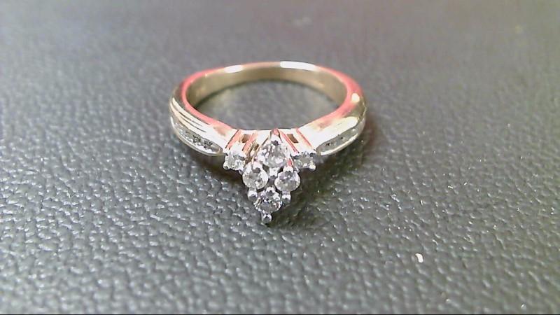Lady's Diamond Wedding Band 14 Diamonds .46 Carat T.W. 14K 2 Tone Gold 3.5g