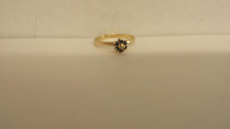 Lds 14K-YG Sapphire & Diamond Rg Size 5.5
