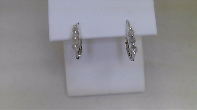 Gold-Diamond Earrings 6 Diamonds .22 Carat T.W. 10K White Gold 1.1g