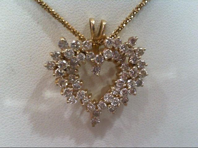 Gold-Multi-Diamond Pendant 50 Diamonds 2.50 Carat T.W. 14K Yellow Gold 3.9g