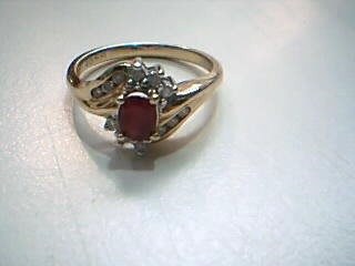 Synthetic Ruby Lady's Stone & Diamond Ring 12 Diamonds .12 Carat T.W.