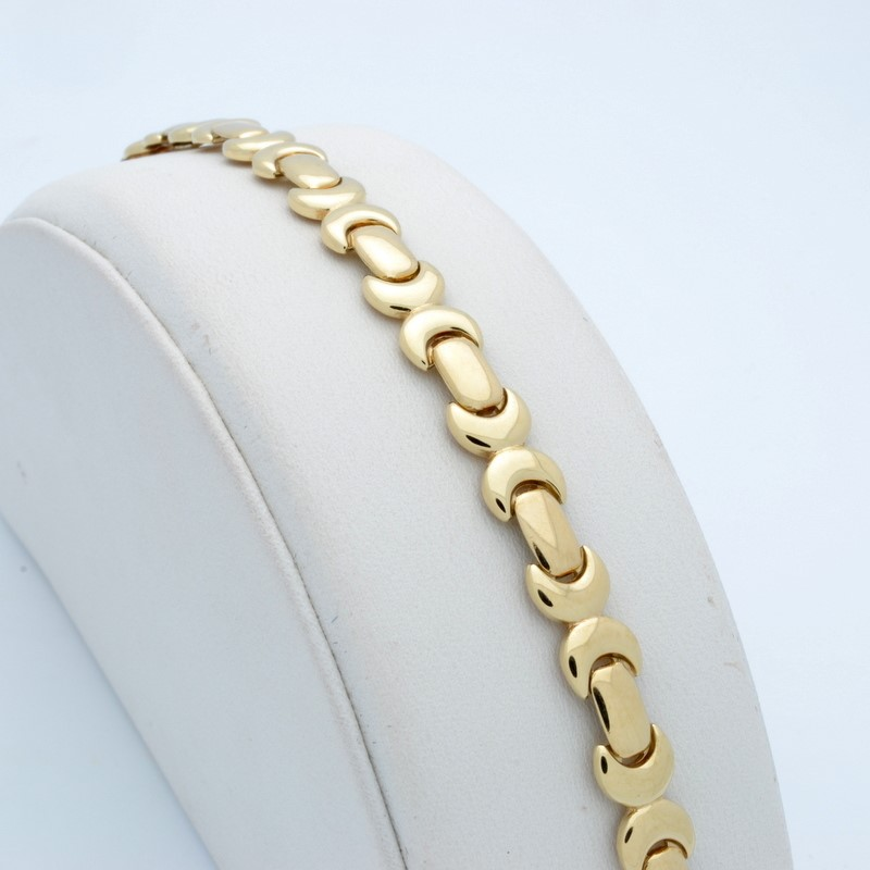 ESTATE SOLID 14K YELLOW GOLD BRACELET LONG LINK ITALY 11.8g 7.5""