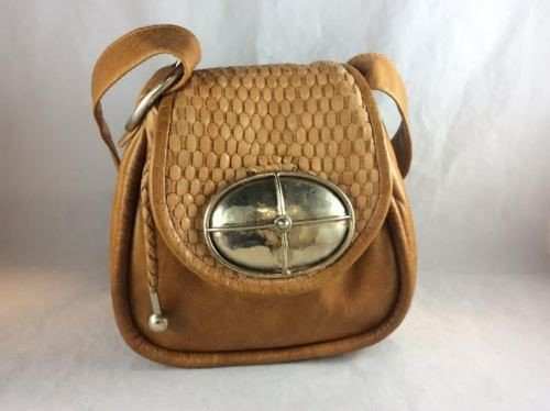 PEREZ SANZ EL NIDO DEL COLIBRI Cognac Leather Woven Messenger Cross Body Purse