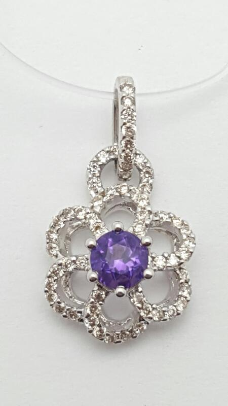 Amethyst Gold-Diamond & Stone Pendant 23 Diamonds .23 Carat T.W. 14K White Gold