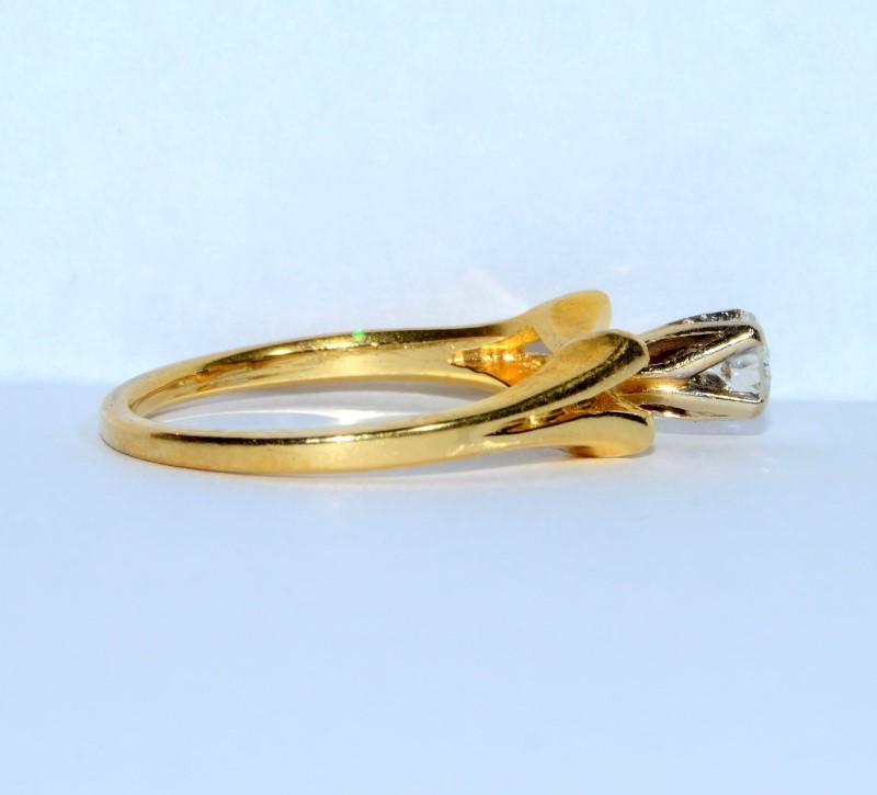 Art Deco Round Brilliant Diamond Engagement Ring 18K Yellow Gold s 6.5