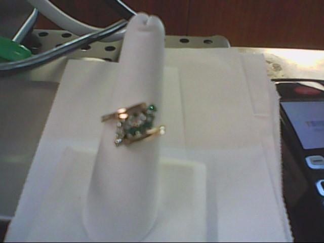 Emerald Lady's Stone & Diamond Ring 5 Diamonds .25 Carat T.W. 14K Yellow Gold
