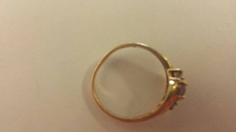 Synthetic Agate Lady's Stone & Diamond Ring 2 Diamonds .02 Carat T.W.
