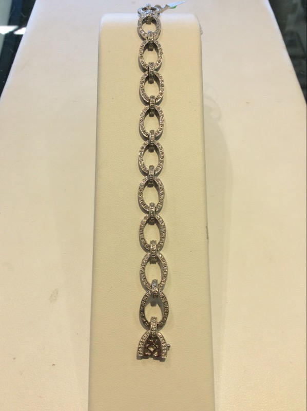 White Gold Round Diamond Ring Antique Style Bracelet 1CTTW