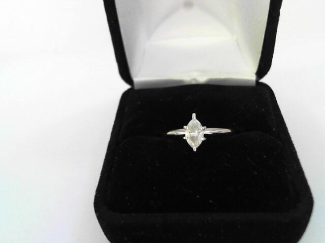 Lady's Diamond Solitaire Ring 2 Diamonds 1.02 Carat T.W. 14K White Gold 1.11dwt