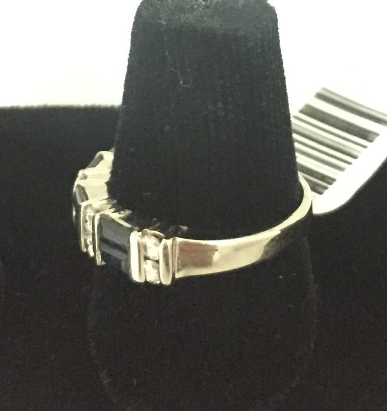 Synthetic Sapphire Lady's Stone & Diamond Ring 8 Diamonds .40 Carat T.W.