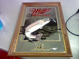 MILLER HIGH LIFE RAINBOW TROUT WISCONSIN MIRROR