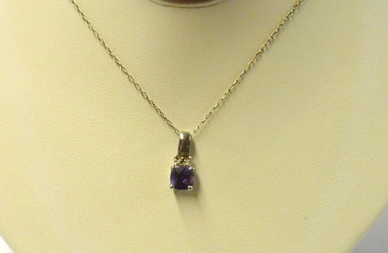 "20"" Synthetic Alexandrite Stone Necklace Vermeil 1.3dwt"
