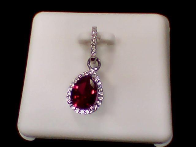 Red Stone Silver-Stone Pendant 925 Silver 1.5g