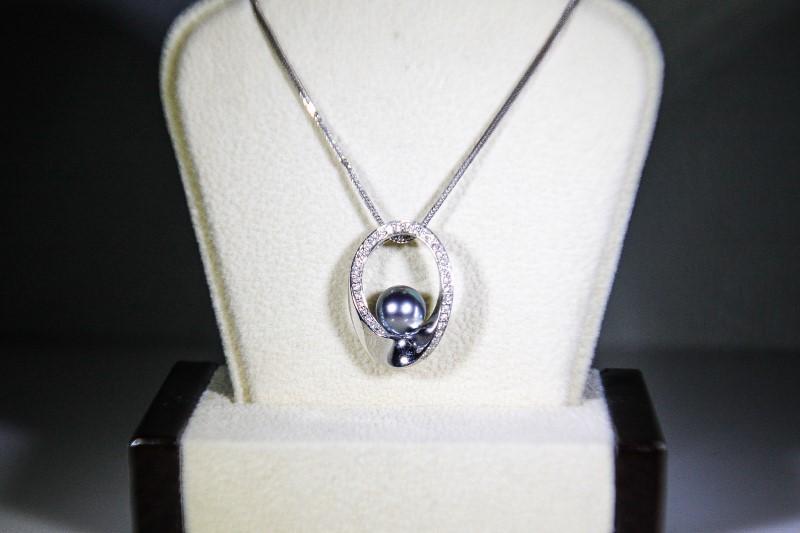 "20"" Synthetic Pearl Diamond & Stone Necklace 36 Diamonds .36 Carat T.W."