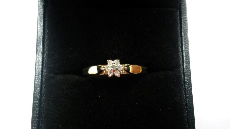 Lady's Diamond Engagement Ring 7 Diamonds .07 Carat T.W. 10K Yellow Gold 0.9dwt