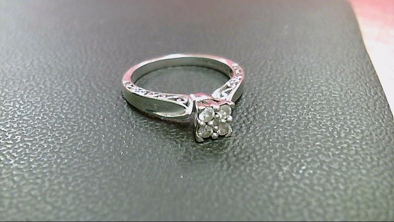 Lady's Diamond Engagement Ring 5 Diamonds .26 Carat T.W. 10K White Gold 2.8g