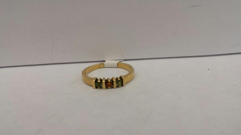 14k Yellow Gold Ring with 2 Green Stones and 1 Orange Stone