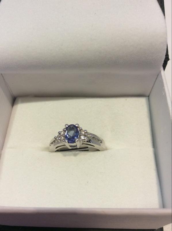 Synthetic Tanzanite Lady's Stone & Diamond Ring 9 Diamonds .09 Carat T.W.