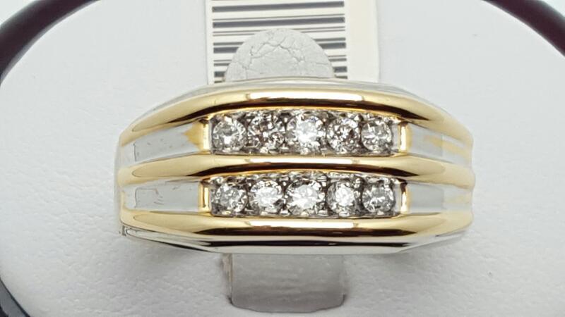 Gent's Diamond Fashion Ring 10 Diamonds .40 Carat T.W. 14K 2 Tone Gold 10g