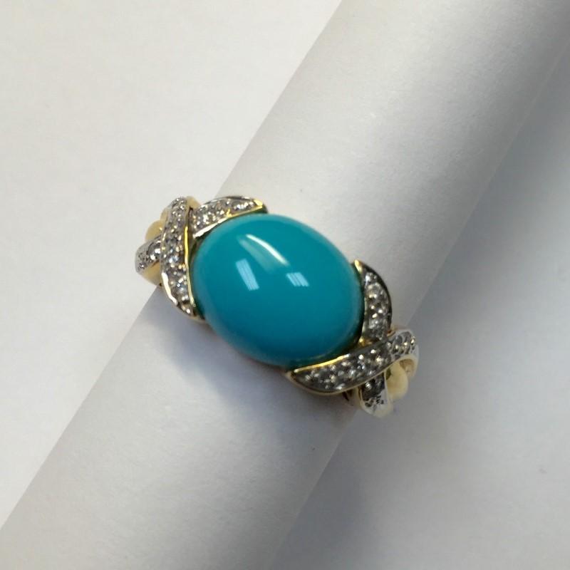 Blue Stone Lady's Stone & Diamond Ring 14 Diamonds .14 Carat T.W.