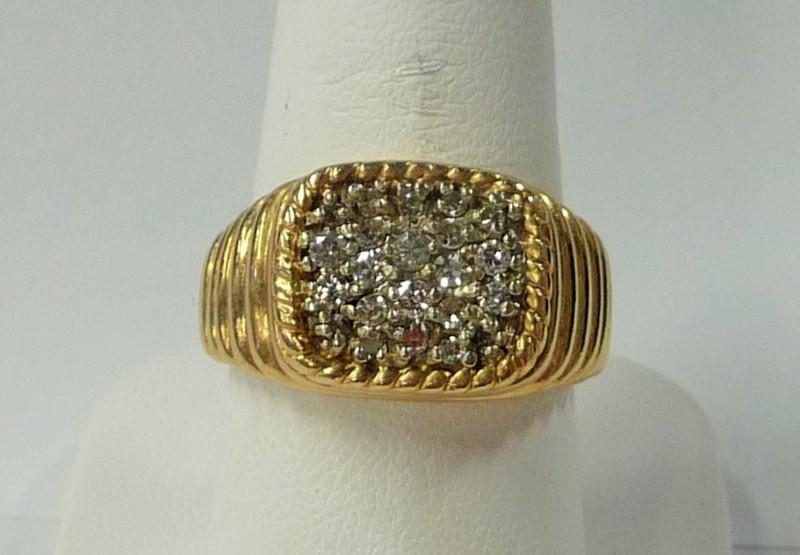 Gent's Diamond Cluster Ring 21 Diamonds 1.05 Carat T.W. 14K Yellow Gold 6.57dwt