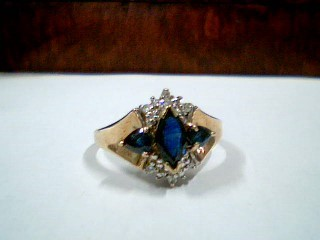 Synthetic Sapphire Lady's Stone & Diamond Ring 16 Diamonds .16 Carat T.W.