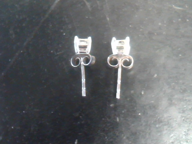 Silver-Diamond Earrings 2 Diamonds .32 Carat T.W. Silver Plate 0.5dwt