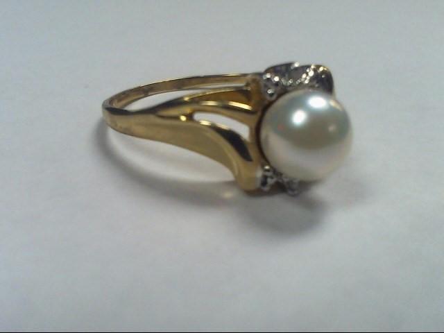 Synthetic Pearl Lady's Stone & Diamond Ring 6 Diamonds .06 Carat T.W.