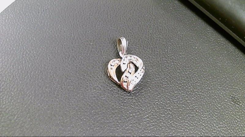 Gold-Multi-Diamond Pendant 12 Diamonds .12 Carat T.W. 10K 2 Tone Gold 2.9g